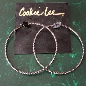 Cookie Lee Large Clutchless Hoop Earrings
